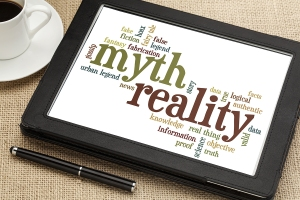 cloud of words or tags related to myth and reality on a  digital